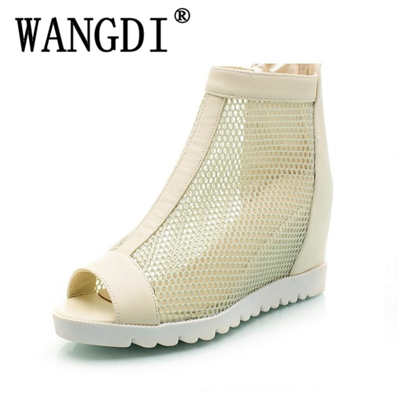 2018 Big Size 34-43 Peep Toe Hollow Height Increasing Summer Boots Women Shoes Fashion Zip Up Causal Shoes Woman