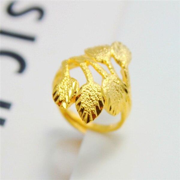 Simple 24k Gold Plated Beautiful Leaves 1 Quality Hongkong Handmade Adjule Ring