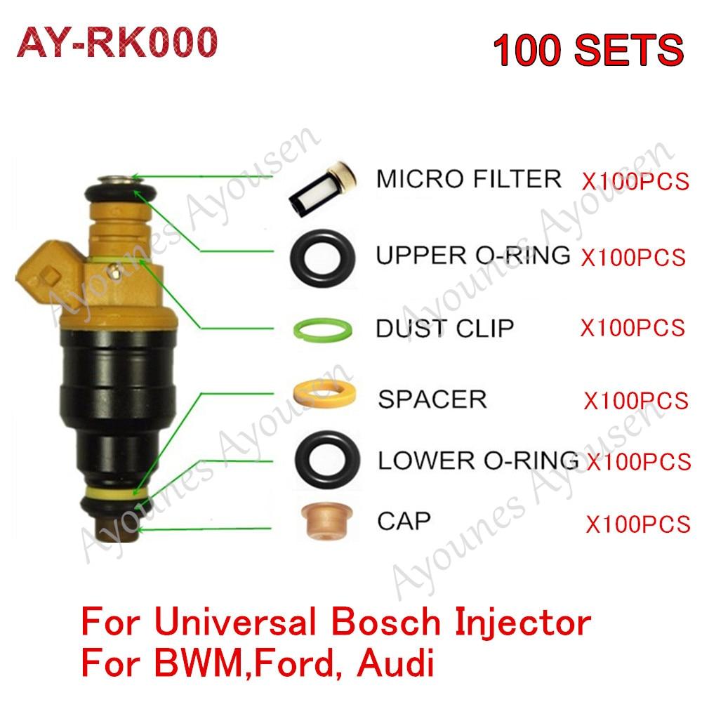 100 ensembles Kits universels de réparation d'injecteur de carburant pour pièces #0280150943 0280150209 0280150556 pour remplacement de voiture Ford Audi (AY-RK000)