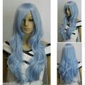 Long Curly Wavy Cosplay Wig Costume Party Heat Resistant Synthetic Light Blue Wigs Women Perucas Pelucas