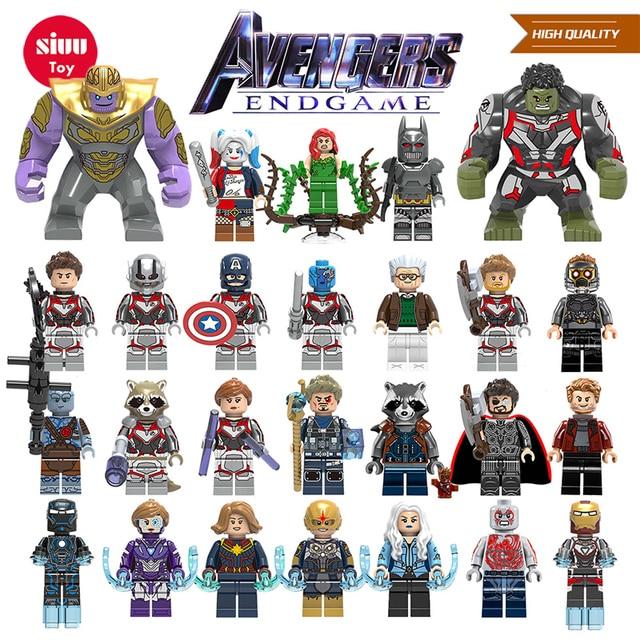 Super Heróis Figuras Maravilhas Thanos Blocos de Construção Vingadores Capitão América Homem de Ferro Hulk Pantera Negra 4 Endgame brinquedos