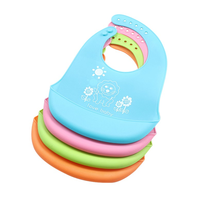 Newborn Cartoon Waterproof Aprons Baby Bibs Accessories Waterproof Silicone Feeding Baby Saliva Towel