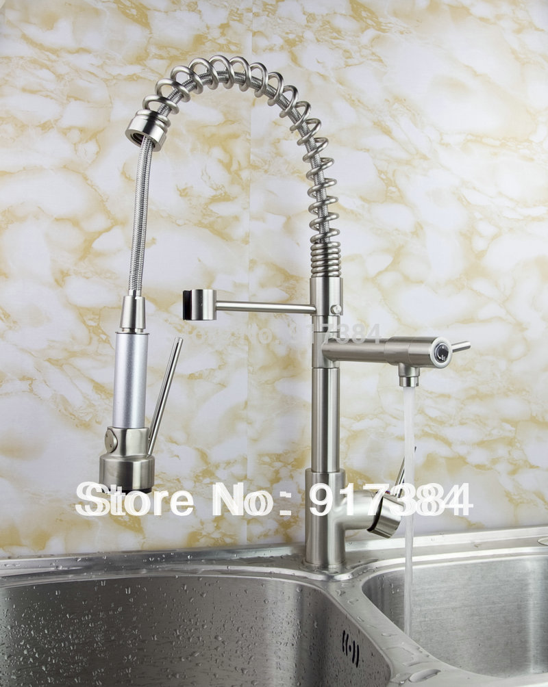 Double Waterflow Pull out Spray 360 degrees Swivel Spout Kitchen Faucet in Brushed Nickel Finish JN8525