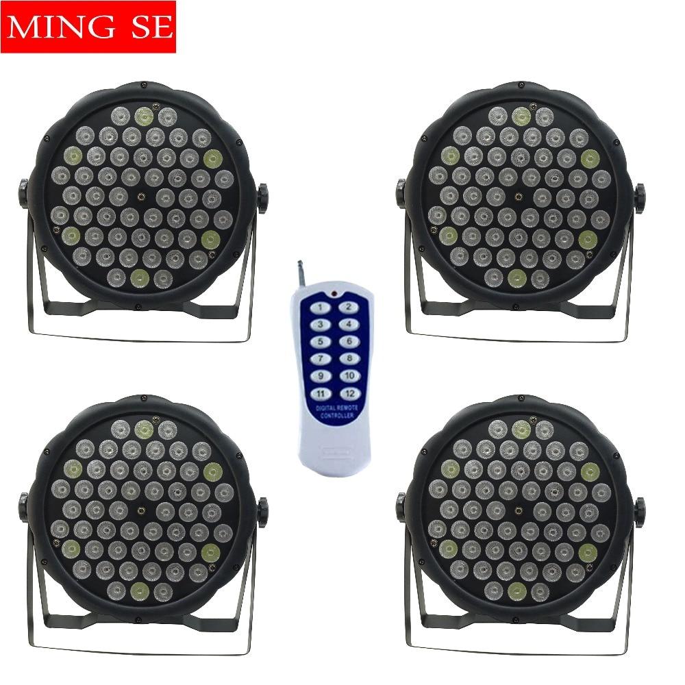 4pcs / lots 54X3W RGBW LED Par Lumière LED PAR contrôleur DMX512 contrôleur led lumières avec télécommande disco lumières DJ équipement