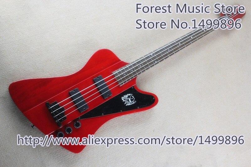 Haute qualité 4 cordes Suneye Thund Bird guitare basse électrique en rouge à vendre