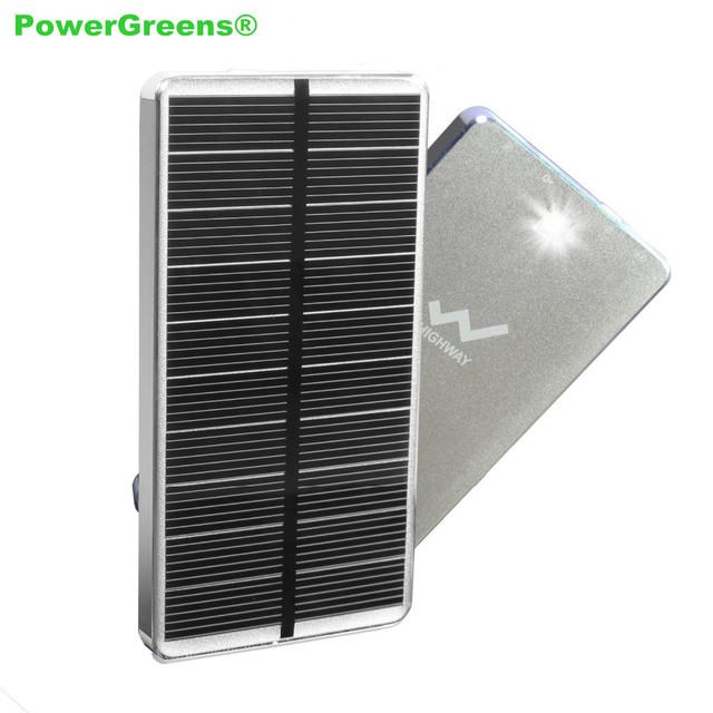 PowerGreen Solar Banco De Potência 10000 mAh Projeto Lanterna Solar Carregador de Bateria Do Telefone Móvel de Backup Do Painel Solar com Saída Dupla
