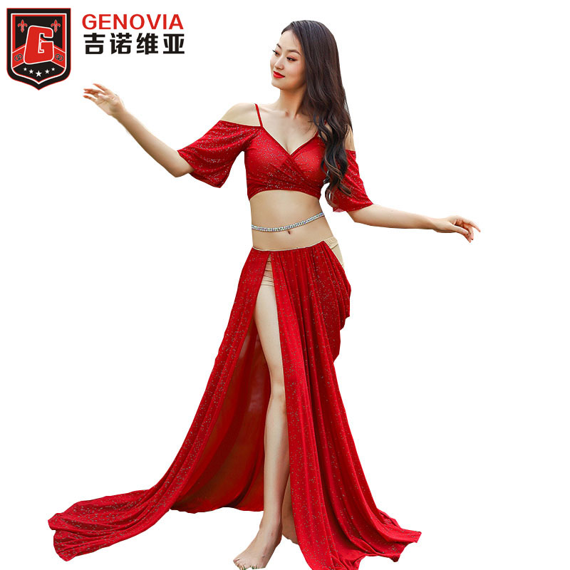 New Arrival Ladies Blouse Skirt 2pcs Suit Women Belly Dance Sexy Oriental Dance Mesh Split Long Skirt Top Dancer's Dress