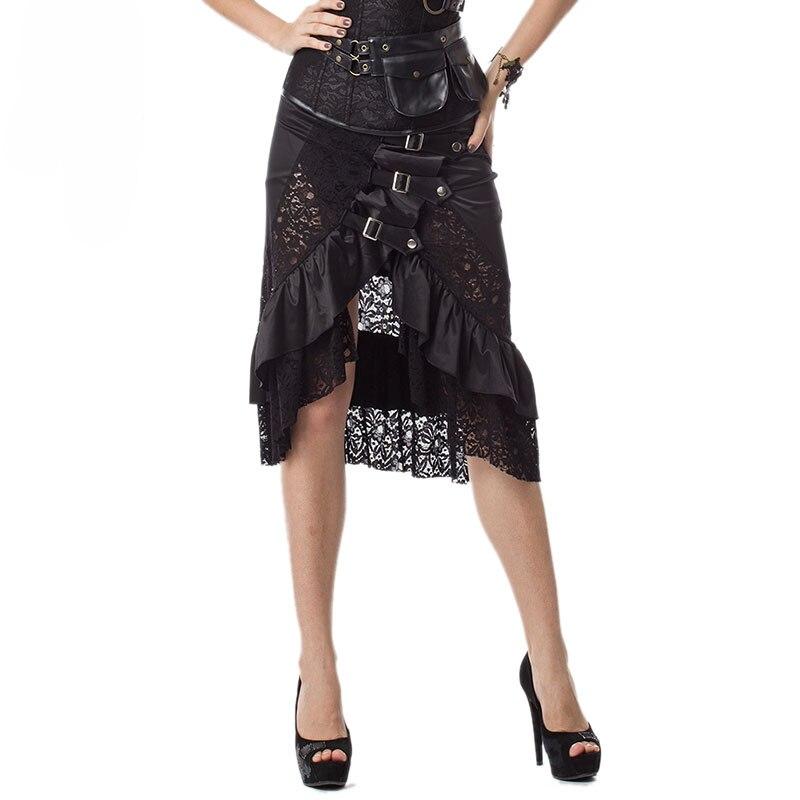 L-5XL Plus Size Lace Up Layered High Low Skirt Women Asymmetrical Skirts Dress