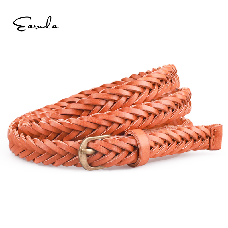 Earnda Hot Sell New Womens Belt Casual Style Braided Rope Leather Belt Waist Female Knitted Strap For Dress Skirt High Quality