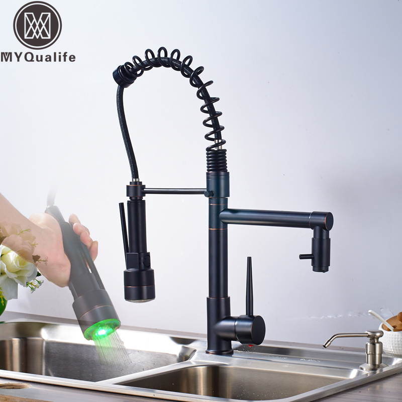 LED Light Kitchen Faucet Swivel Spout Pull Down Bathroom Kitchen Vessel Sink Mixer Tap Deck Mount Hot Cold Water Mixer Crane