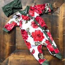 Baby Kids Girl clothes Infant Button floral bodysuit long sl