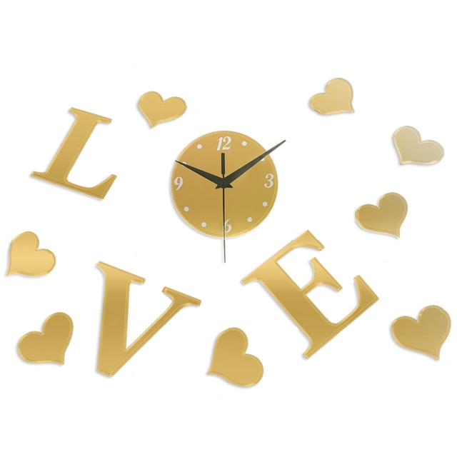 Art 3D DIY Love Heart Mirror Wall Clock Home Livingroom Bedroom ...