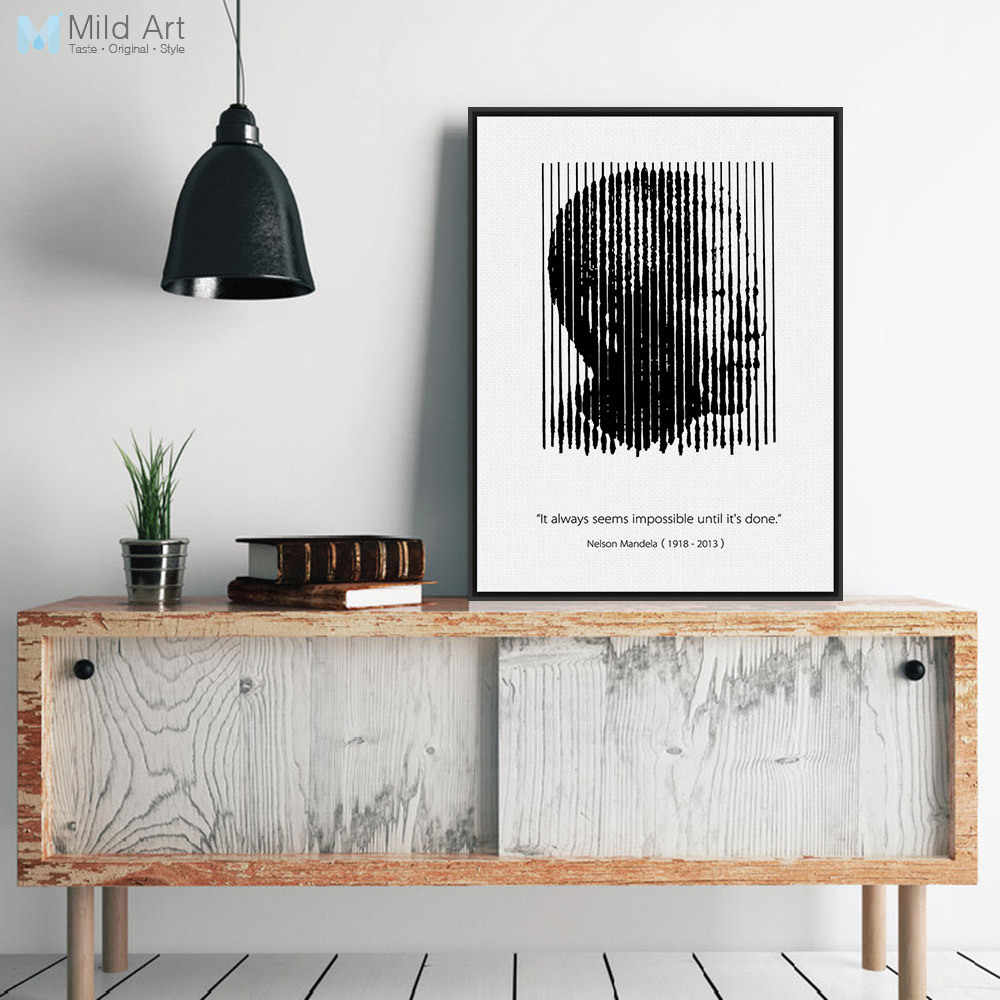 Black White Africa Mandela Silhouette Portrait Motivational Quotes Art Print Poster Wall Picture Canvas Painting Classroom Decor