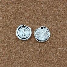 20Pcs/lots Single side Letter S Alphabet Initial alloy Charms Pendant Antique Silver Pendants Fashion Jewelry DIY 18x18.5MM