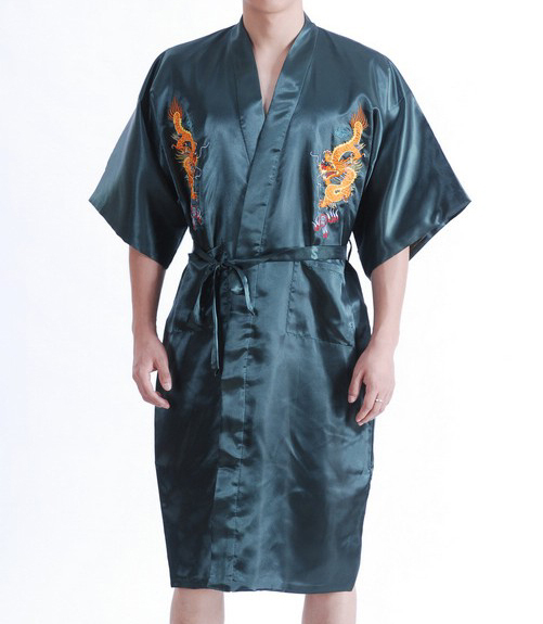 Robes Underwear & Sleepwears Summer New Green Chinese Mens Traditional Robe Bathrobe Novelty Embroider Dragon Sleepwear Kimono Gown Plus Xxxl S0023