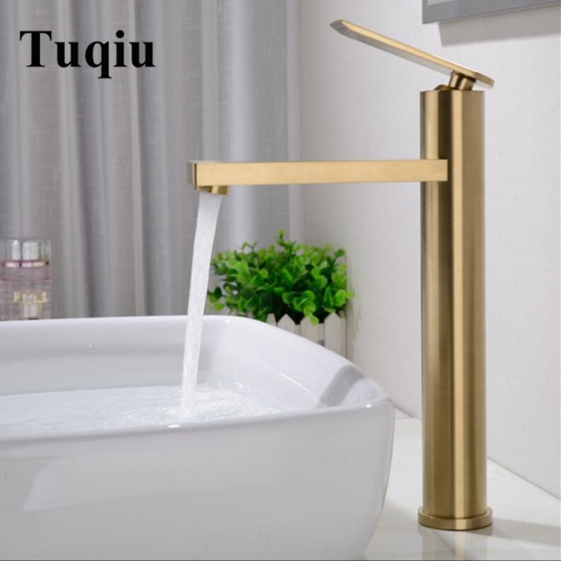 Basin Faucet Water Tap Bathroom Faucet Solid Matte Gold Brass Cold & Hot Water Single Handle Water Sink Tap Mixer BlackBasin Faucet Water Tap Bathroom Faucet Solid Matte Gold Brass Cold & Hot Water Single Handle Water Sink Tap Mixer Black