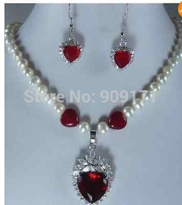 Womens gift Jewelry word Zircon Crystal Natural Fine Jewelry Beautiful heart-shaped gem stone 7-8mm pearl necklace earring set