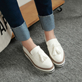 Flat Women Shoes Leather Tassel Platform Wedge Ladies Shoes White Slip On Loafers Female Creepers Shoes For Women Zapatos Mujer
