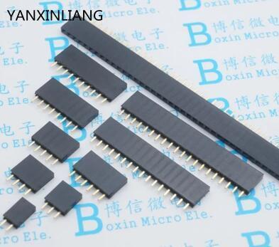100PCS Pitch 2.54mm 1x2Pin 2 Pin Female Single Row Straight Header Strip Connector Socket
