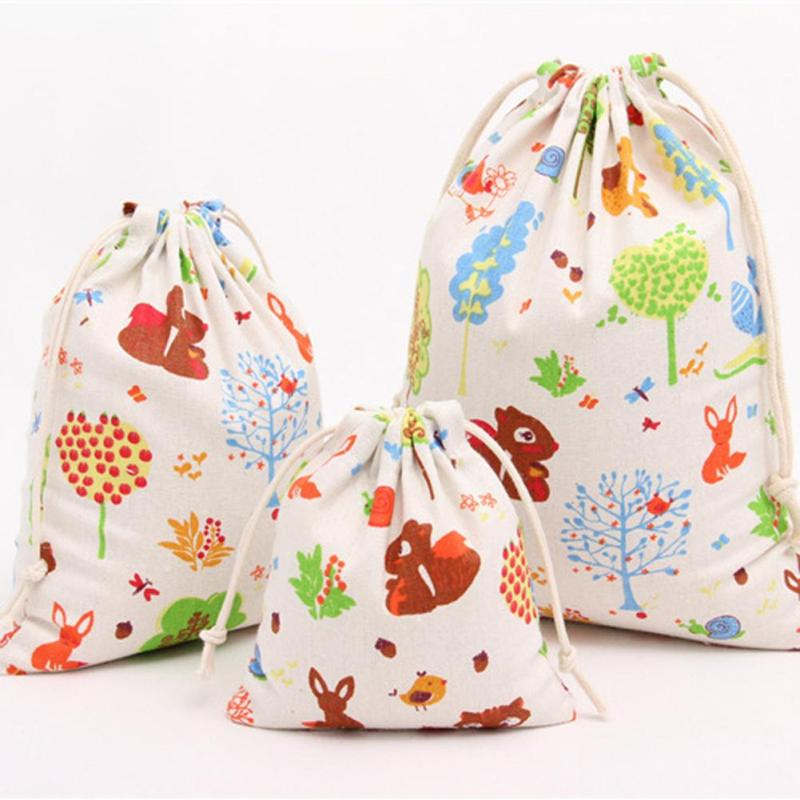 Canvas Travel Drawstring Tote Storage Bag Printing Sports Backpack Tea Candy Snack Food Organizer Toys Shoes Cosmetic Pouch G20