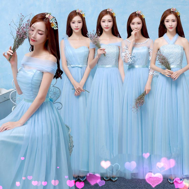 Light Blue Bridesmaid Dresses One Shoulder Ankle Length For S Alibaba