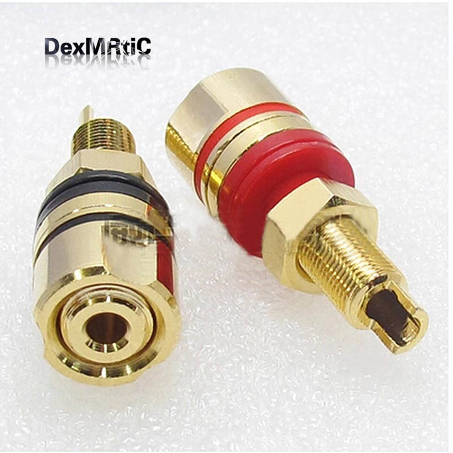 A Pair Banana Connector Full Copper Banana Plug Sockets High Quality Terminal  Audio Posts