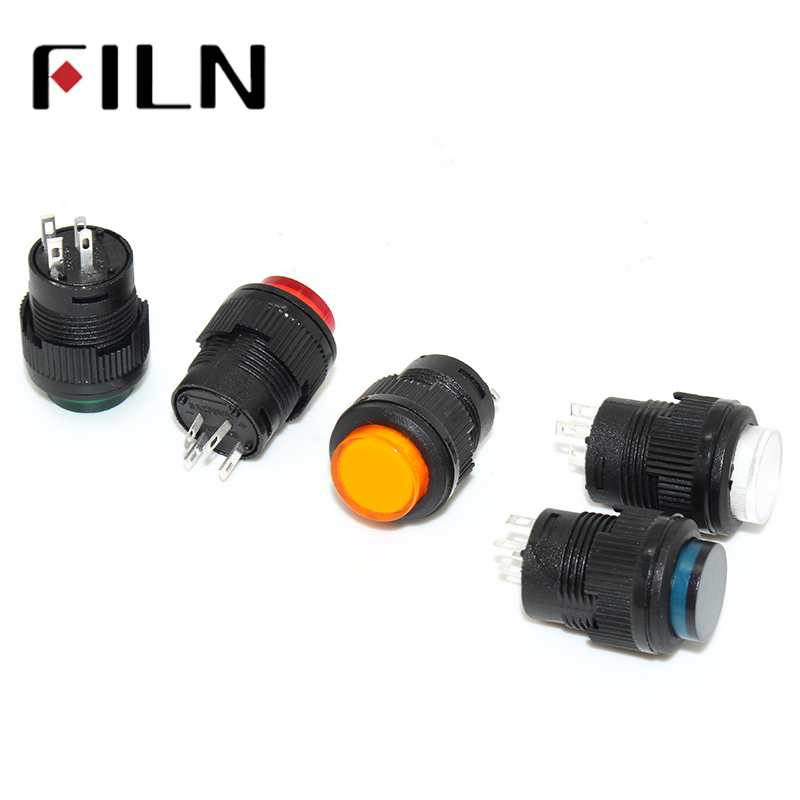 цена на R16-503 16mm 4 pins plastic Momentary Latching 3.3VDC LED push button switch 1 Normally Open