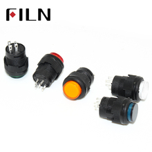 R16-503 16mm 4 pins plastic Momentary Latching 3.3VDC LED push button switch 1 Normally Open