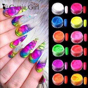 Image 1 - 12colors/set Neon Pigment Nail Powder Dust Ombre Nail Glitter Gradient Glitter Iridescent Acrylic Powder Nail Art Decoration