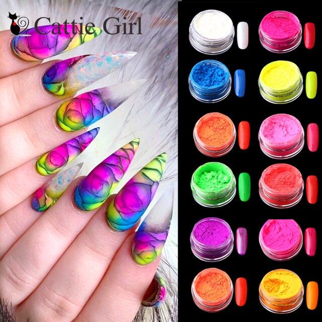 12colors/set Neon Pigment Nail Powder Dust Ombre Nail Glitter Gradient Glitter Iridescent Acrylic Powder Nail Art Decoration