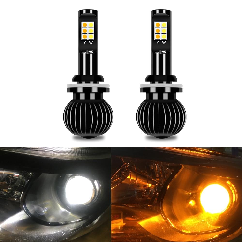 2 pz Giallo Bianco LED 12 v H7 Auto Della Luce di Nebbia di Giorno Luminoso Luci 6000 k 8500LM Car Styling Universale lampadine del faro Accessori