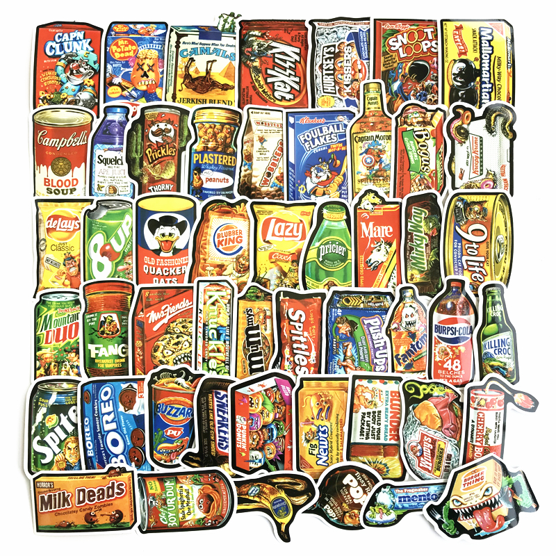 50Pcs/Lot Food  Stickers For Car Laptop Bicycle Backpack Notebook Home Decal DIY Waterproof PVC Toy Sticker