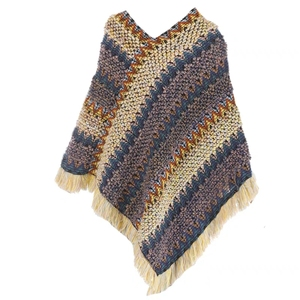 Image 5 - Abrigo mujer poncho capa casaco de inverno feminino ponchos capas morcego pulôver cor listra tricô marca luxo borlas roubou 115