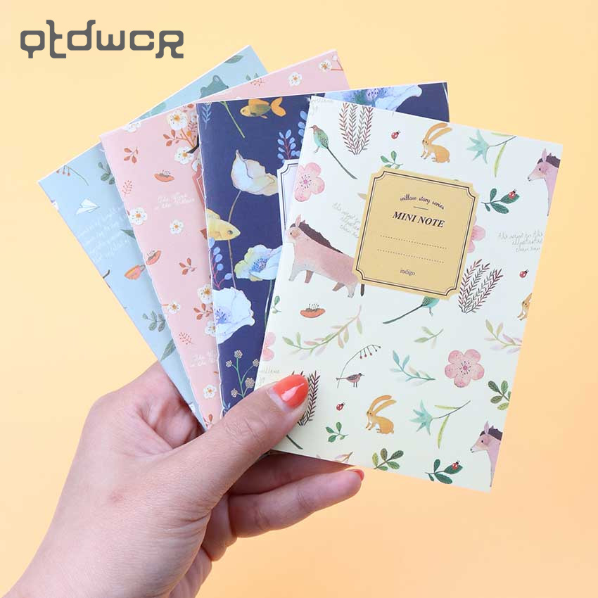 4PCS/Set Cute Mini Vintage Flower Notebook Lovely Animal Notepads for Kids Gifts Korean Stationery protective clear screen protector film guard for samsung t3100 t3110 galaxy tab 3 transparent