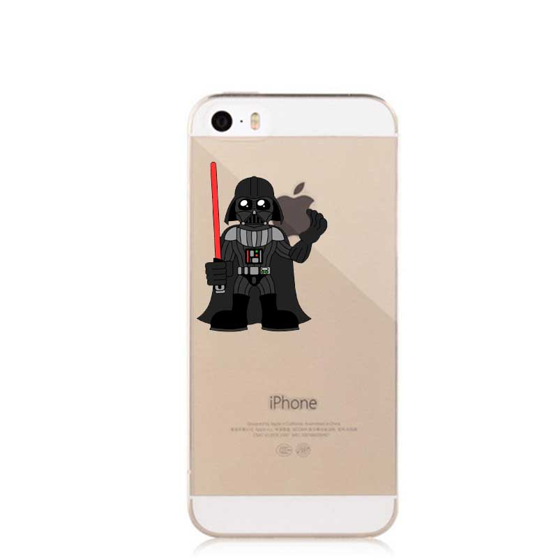 Star Wars R2D2 Robot Hard Transparent Clear Case Cover Coque for iPhone 4 4S SE 5 5S 5C 6 6S 6 Plus 7 7Plus Phone Cases