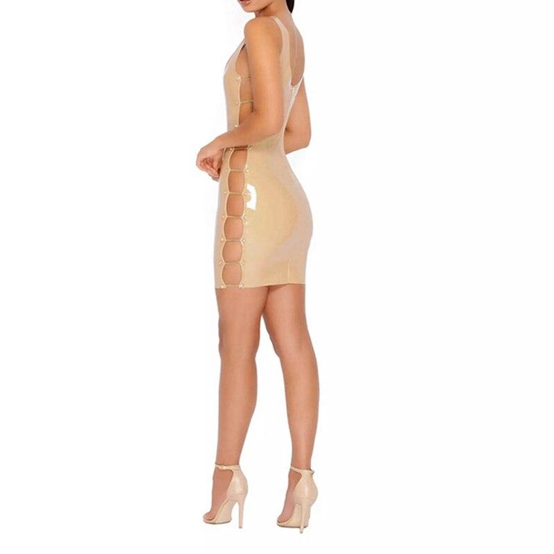 CFYH 2018 Sexy Leather Bandage Dress Beige Black Red PU Side Hollow Out Bodycon Club Dress Sleeveless Back Zipper Women Vestidos