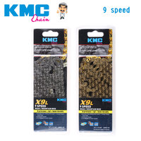 KMC 9 Speed X9L Bicycle Chain MTB/Road Super Light Hollow Mountain Bike Single Chain 116 Links Gold Silver Box packed