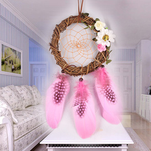 Buy pink dream catcher and get free shipping on aliexpress pink rattan feathers craft handmade dream catcher wall car hanging ornaments home decoration birthday blessing gifts mightylinksfo