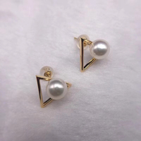 Sinya Au750 Gold stud earring Natural southsea pearls earring Triangle design fashion jewelry for women girls Mom 2018 News
