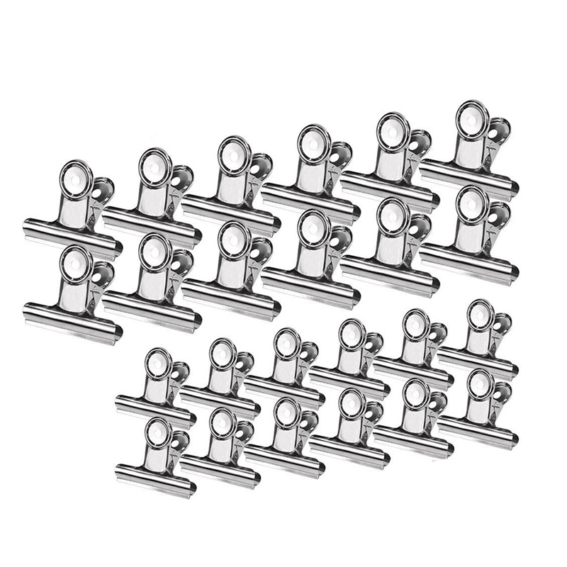 24 Pcs Stainless Steel Heavy Duty Food Hinge Clips Big Size Multi-Purpose For Air Tight Seal Grip On Kitchen Office Paper Clips