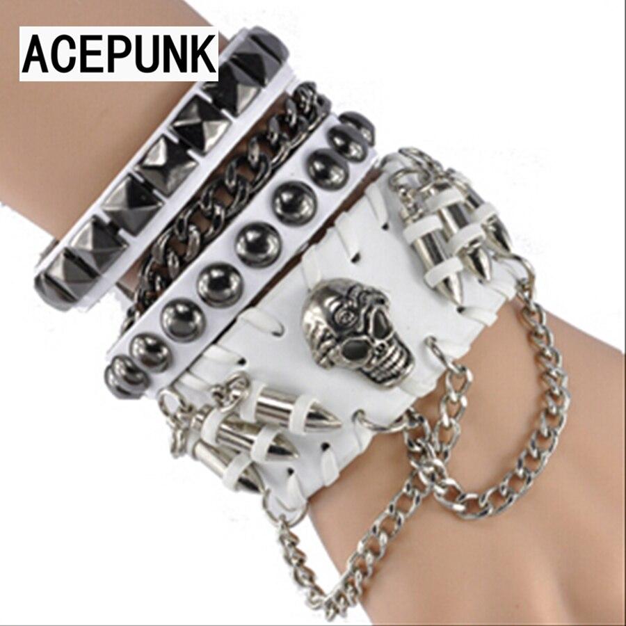 2018 New Fashion Skull Leather Bracelet Men Cool Man Hip Hop Bracelets For Women Punk Gloves Set Pulseira Masculina Bileklik