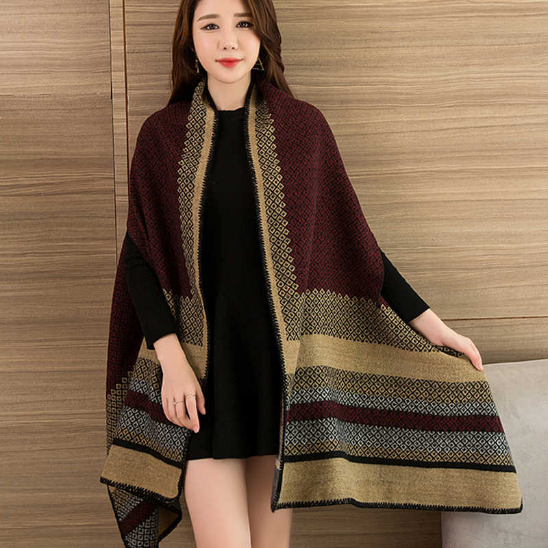 902061fc801 Women Wearable Poncho Scarf Cashmere Air Conditioning Cover Pashmina for  Ladies Blanket Scarves Shawls All-Match Warm Stoles