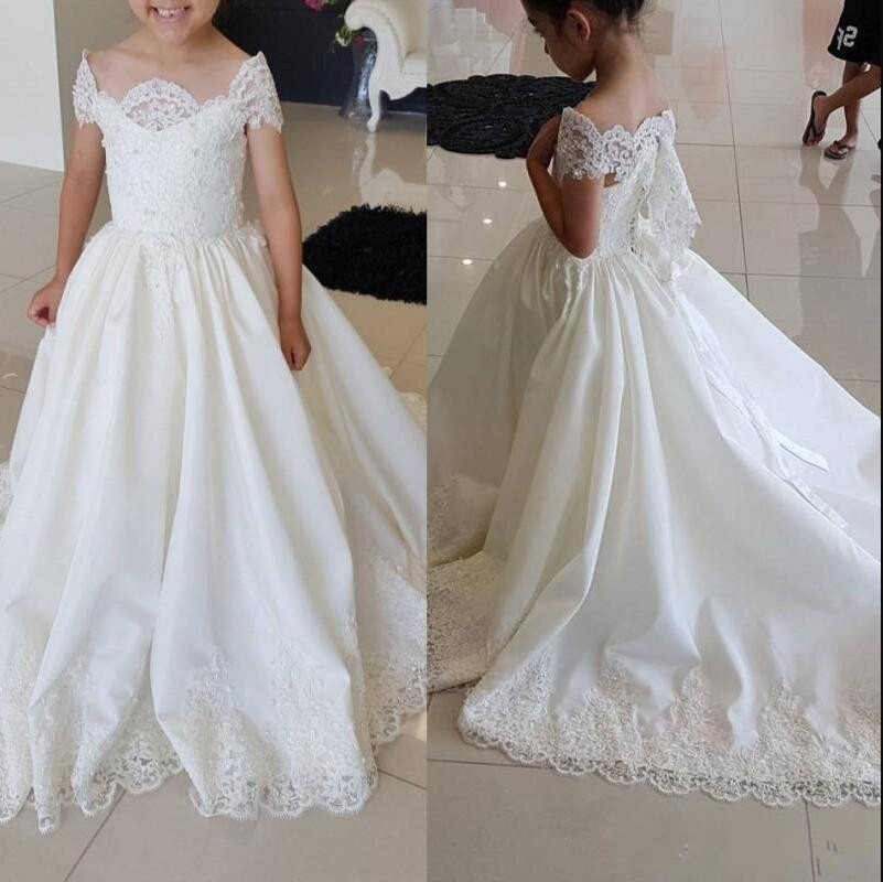 Princess   Dress   with Train Appliques Ribbon   Flower     Girl     Dress   For Wedding Special Occasion Cap Sleeves Satin Pageant   Dress   Longo