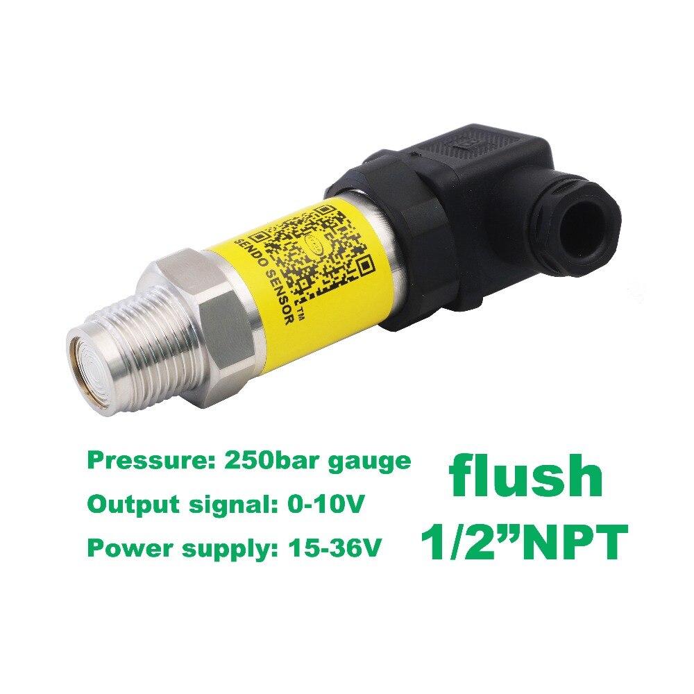 flush pressure sensor 0-10V, 15-36V supply, 25MPa/250bar gauge, 1/2NPT flush, 0.5% accuracy, stainless steel 316L wetted parts flush pressure sensor 0 10v 15 36v supply 10mpa 100bar gauge 1 2npt 0 5% accuracy stainless steel 316l wetted parts