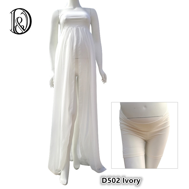 (170cm) Maternity Maxi Dress Boob Tube On Top with Shorts Free Size Split Front Chiffon For Photography Props Dress