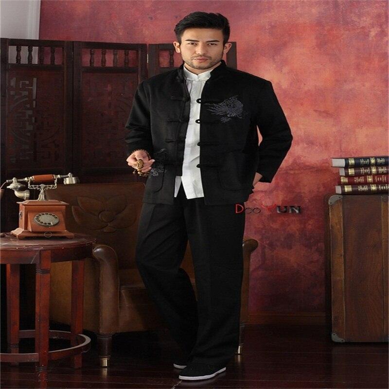 Taille Broderie Tang Chinois Noir Pardessus Hiver Épais Plus L Velours Xxxl Xxl M Le Traditionnel Noir Nouveau Veste Hommes Chaud Costume or Xl ZwgOqP