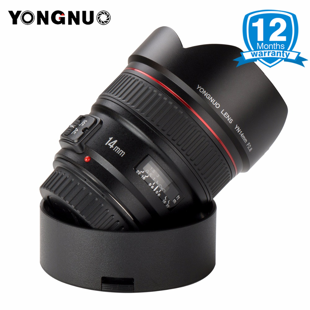 YONGNUO 14mm F2.8 Ultra wide Angle Prime Lens Auto Focus AF MF Metal Mount YN14mm Lens for Canon 700D 80D 5D Mark III IV