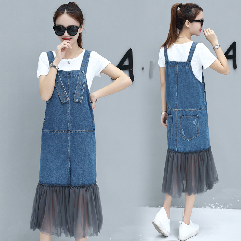 ae69af41292 Rugod Add 3XL Plus Size women Dress vintage Denim Overall dress with White  t shirt Patchwork Mesh summer dresses vestidos 2017-in Dresses from Women s  ...