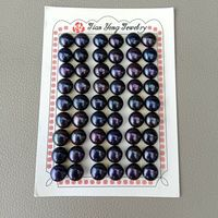 27 Pairs FRESHWATER Cultured Black PEARL HALF DRILLED Semi Round 10 10.5mm