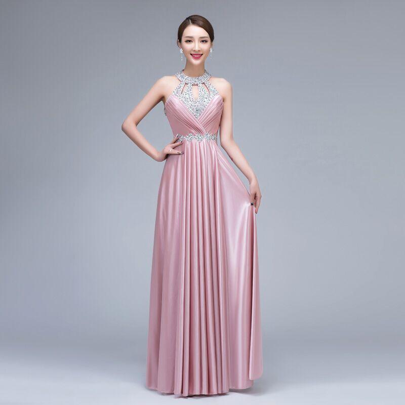 CEEWHY Vestido de Festa de Casamento 2018 Long Crystal Bridesmaid Dresses  for Wedding Party Satin Dress Formal Prom Party Gowns-in Bridesmaid Dresses  from ... 16e95e66c5bf